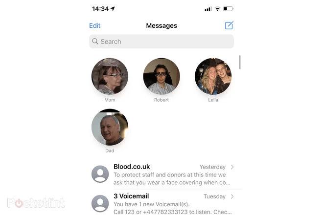 پین کردن مکالمات در messages